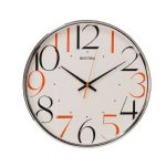 Rhythm Plastic Round Wall Clock with Coloured Numerals 32.5cm